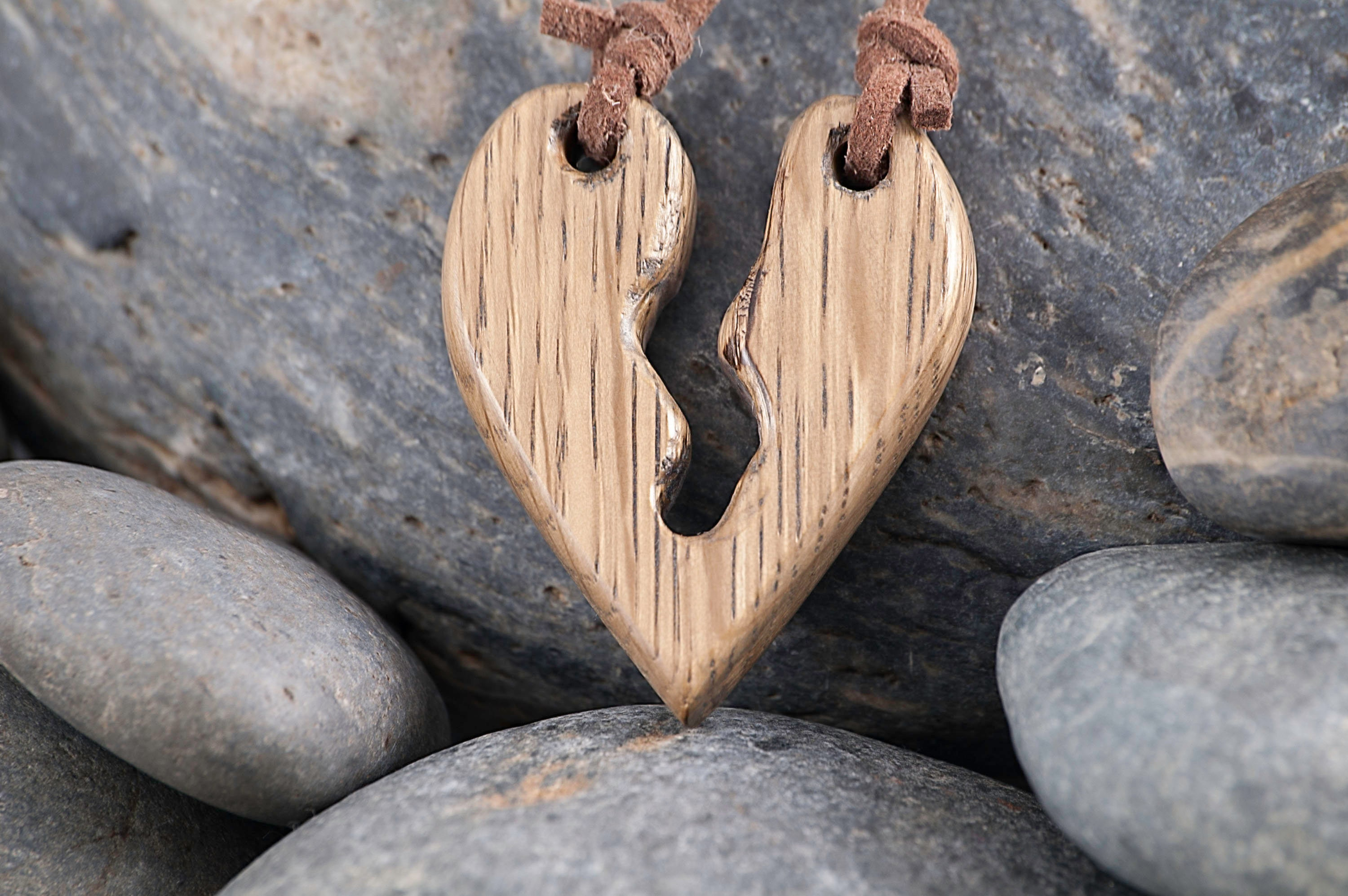 437688970c6c1 Wooden Cracked Heart Pendant on a Suede Cord
