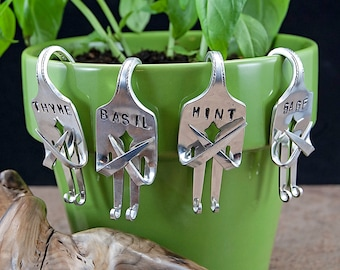 Set of 4 Silverware Fork Garden Herb Markers GM012
