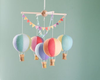 Hot Air Balloon baby crib mobile, balloon nursery, travel theme nursery, baby shower gift