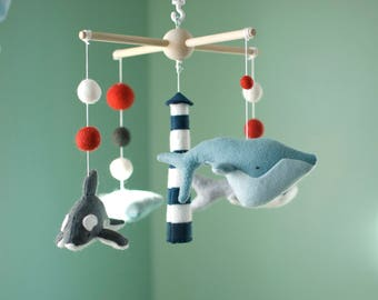 Baby nautical mobile, felt mobile, fish mobile, sea mobile, ocean mobile, whale mobile, shark mobile, baby boy mobile, baby shower gift