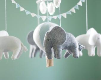 Baby mobile, Elephant mobile, Hot Air Balloon mobile, crib mobile, Balloon Nursery Decor, blue, grey and white nursery, Baby Shower gift