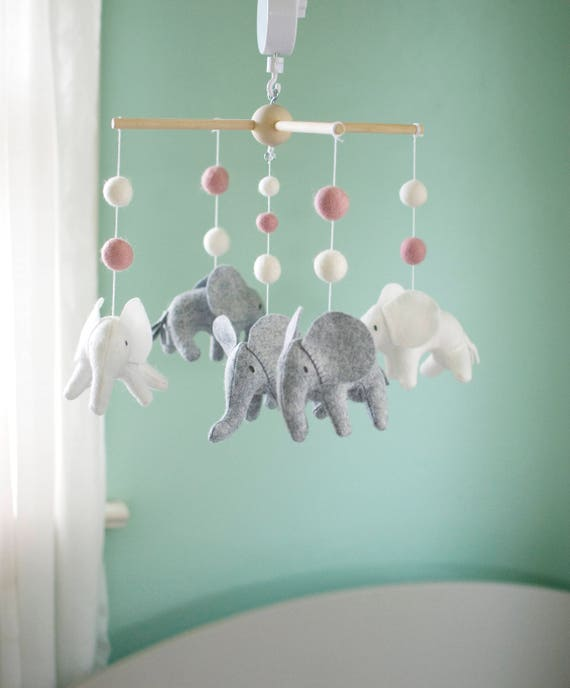 Baby Mobile Elephant Mobile Crib Mobile Gray White And Etsy