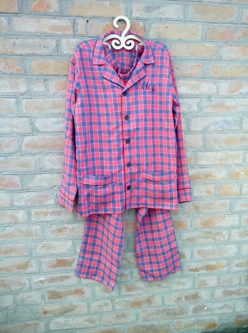 new items size 7 factory outlets Mens Plaid Pajama Linen Sleepwear Mens Linen night suit Linen Pyjamas Pants  and Shirt Homewear Linen Leisure wear Spring Gift for him