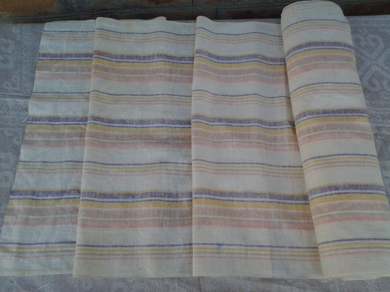 Vintage striped linen kitchen towel fabric. 50 cm*10m50cm (0.54*10.9 yards)  Dish towel Tea towel Organic linen