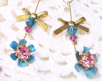 earring Victorian, Bohemian earring, gold and turquoise