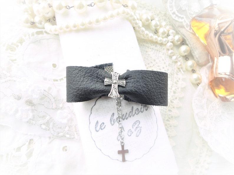 ruban bijoux gothique bijoux croix noir bracelet manchette cuir cuir