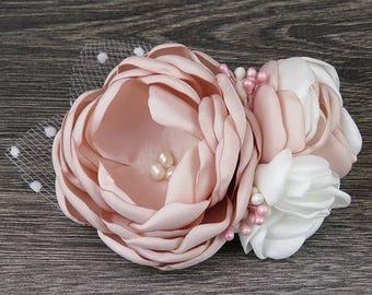 Beautiful Blush Pink Bridal Fascinator - Hair Flower - Wedding accessory - Hair Comb - Brooch - Clip - Pin *