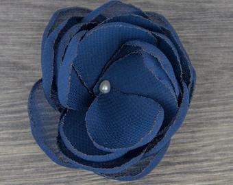 Navy Wedding - Navy Wedding - Blue Hair Flower - Navy - Bridesmaids - Blue Flower Girls - Blue Hair Clip- Navy Brooch