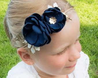 Navy - Gold - Glitter - Sequin - Soft Flower Headband - Baby Headband - Girls Hairband - Flower Crown - Spring Heaband - Wedding - Blue