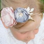 Grey - Silver - Blush Pink Rose Gold - Glitter - Sequin - Flower Headband - Baby Headband - Girls Hairband - Flower Crown - Spring Heaband