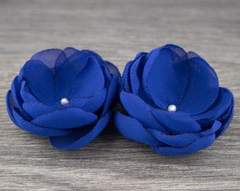 Royal Blue Wedding Hair Flowers - Blue Flower Hair Clip - Blue Bridesmaids - Wedding Hair Comb - Royal Blue Brooch - Wedding Hair Pin