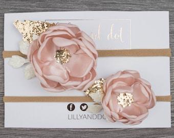 Blush Pink Rose Gold Glitter Headband Set Mummy and Me/Sister Set