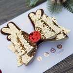 Festive - Christmas - Antler - Rudolph Reindeer - Sparkle - Glitter - Girls - Hair Bow - Clip - Stocking Stuffer - Xmas Gift - Parties