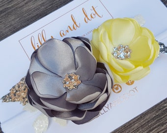 Silver - Yellow - Grey - Glitter - Boutique - Flower Headband - Baby Headband - Girls Hairband - Flower Crown - Any Colour Combos