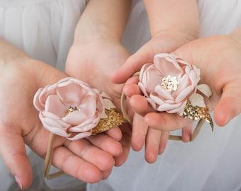 Blush Pink Rose Gold Flower Hair Band