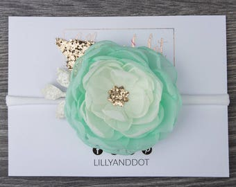 Mint Green Rose Gold - Glitter - Sequin - Flower Headband - Baby Headband - Girls Hairband - Flower Crown - Spring Heaband - Nylon -Dainty *