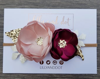 Blush Pink Burgundy Rose Gold Flower Accessory