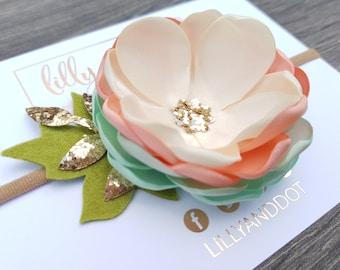 Mint - Peach - Cream - Rose Gold - Glitter - Sequin - Pastel - Woodland - Flower Headband - Baby - Girls Hairband - Nude Flower Crown