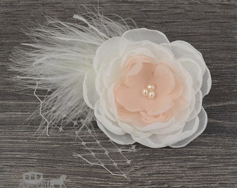 Blush Pink and Ivory Feather Flower Accessory