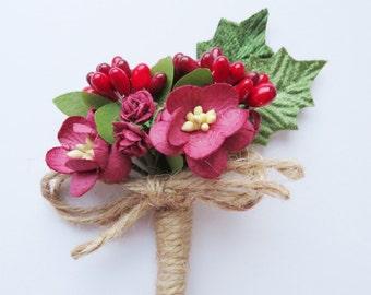 Winter Wedding Buttonhole - Boutonniere - Christmas Wedding Buttonhole - Keepsake Buttonhole - Lapel Flower- Paper flower - Twine Wedding