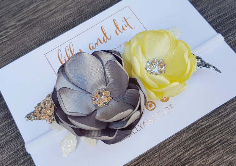 Silver  Yellow  Grey  Glitter  Boutique  Flower Headband image 0