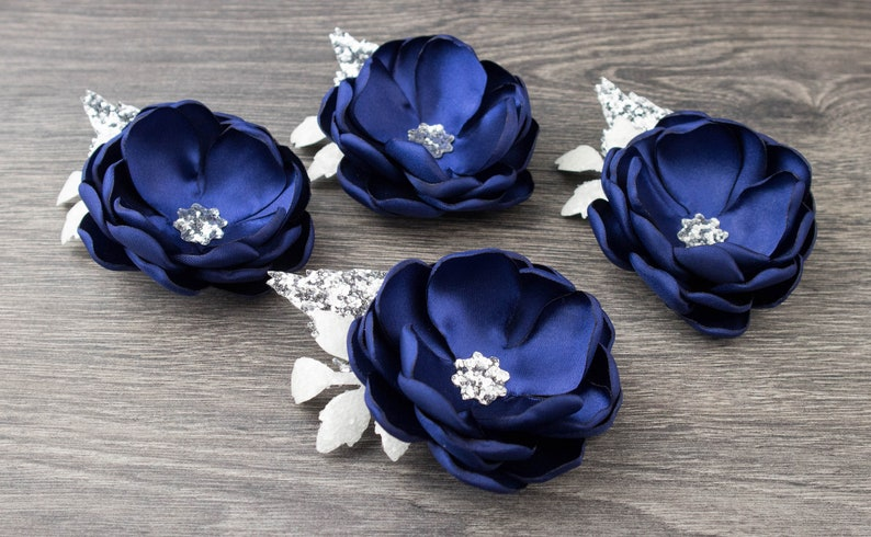Navy Wedding  Navy Blue Silver  Glitter  Sequin  Flower image 0