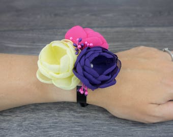 Colorful Wrist Corsage - Bright Wrist Corsage - Flower Wristlet - Flower Bracelet - Prom Corsage - Bridesmaid Corsage - Corsage Bracelet