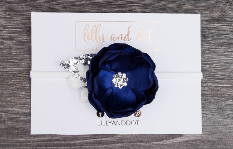Navy Blue Silver  Glitter  Sequin  Flower Headband  Baby image 0