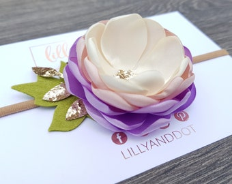 Lilac - Blush Pink - Cream - Rose Gold - Glitter - Sequin - Pastel - Woodland - Flower Headband - Baby - Girls Hairband - Nude Flower Crown