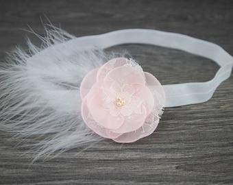 Pink Christening Headband - Pink Feather Headband - Blush Headband - Baptism Headband - Girls Headband - Feather Headband -Newborn Headband