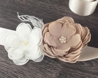 Cappuccino Ivory Flower Bridal Sash