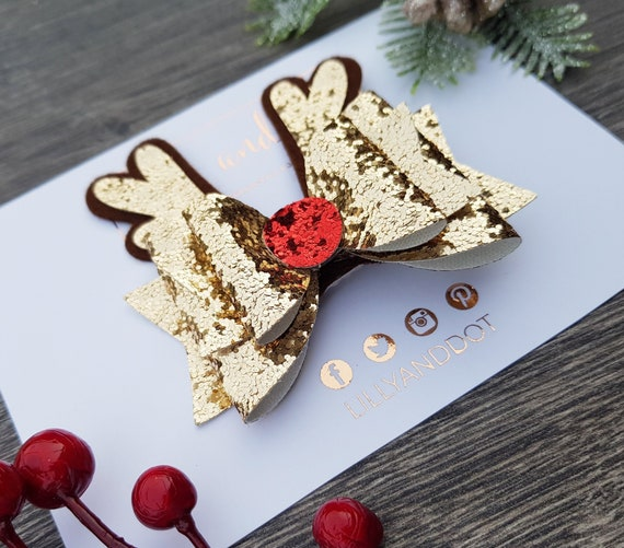 """4/"""" Blue Glitter Sparkle Christmas Holiday Hair Bow COMB Festive Special Occasion"""