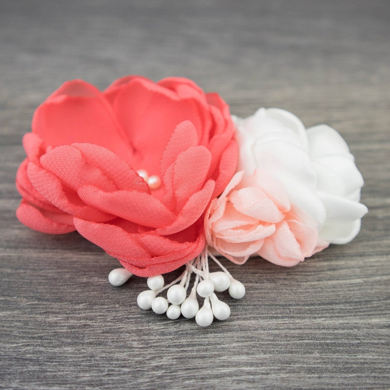 711357374befd Coral Pink Coral Fascinator Bridal Hair Comb Flower Hair