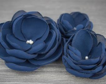 Navy Wedding - Navy Blue Wedding - Blue Hair Flower - Navy Hair Flower - Navy Bridesmaids - Blue Flower Girls - Navy Brooch - Navy