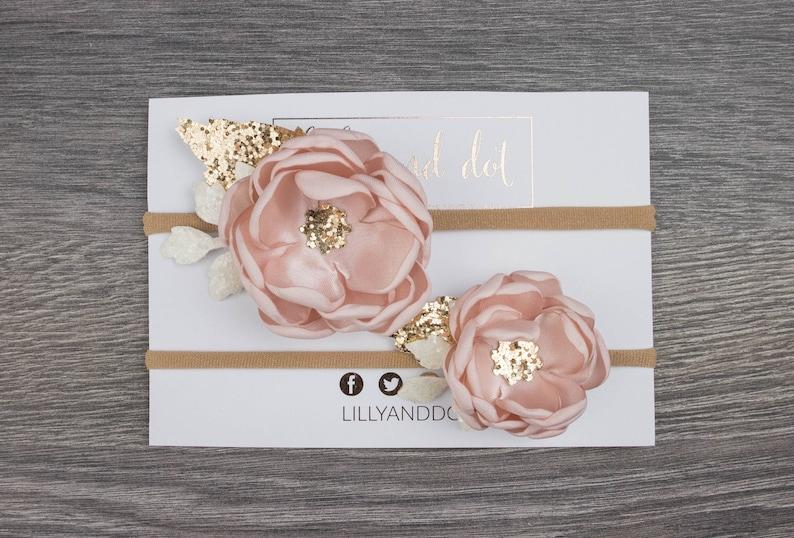 Blush Pink Rose Gold Glitter Headband Set image 0