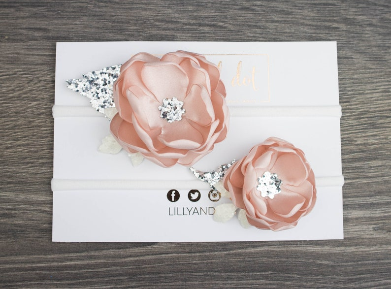 Blush Pink Silver  Shimmer  Glitter  Sequin  Baby Flower image 0