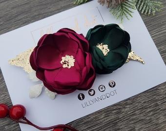 Traditional - Christmas - Party - Festive - Red Green - Gold - Glitter - Flower Headband - Baby Headband - Girls Hairband - Flower Crown
