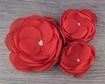 Salsa - Red Fabric Flower - Red Wedding - Red Hair Flower - Red Bridesmaids - Red Flower Girls - Red Hair Accessory - Red Flower Brooch
