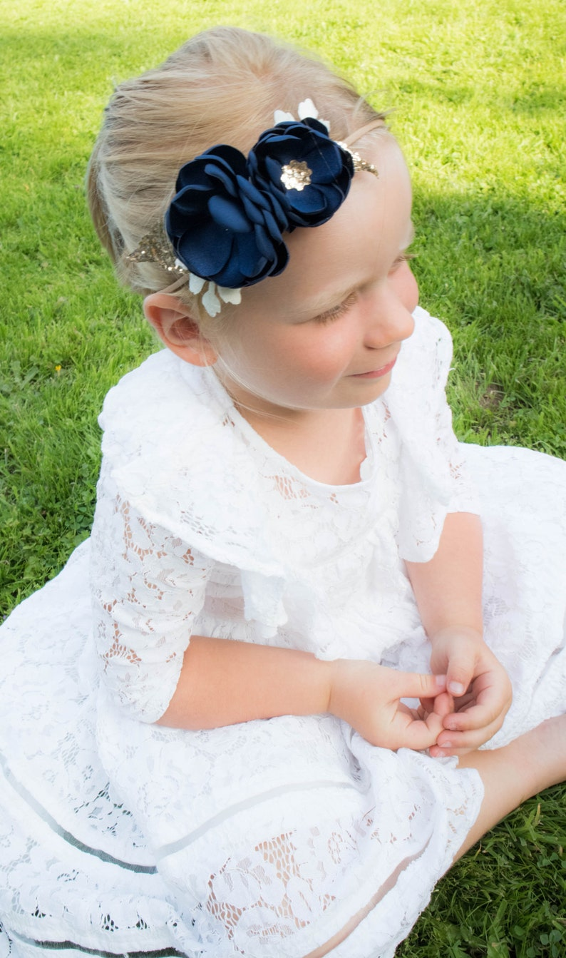Navy  Gold  Glitter  Sequin  Soft Flower Headband  Baby image 0