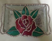 Awesome Rose Lid Stained Glass Jewelry Box - Free Shipping for the Holidays Order Early