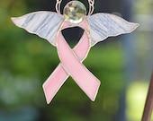 Stained Glass Breast Cancer Angel, Beautiful, Custom Handmade, Suncatcher, Ornament