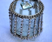 Round Embossed Glass Engagement Ring Box, Jewelry Box, Keepsake, Stunning, Unique and Beautiful A Great Gift Order Early
