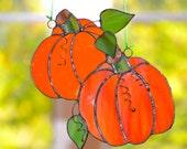 Harvest Suncatcher, Unique Chandelier Decoration, Pumpkins with Dimensional Leaves, Seasonal Suncatcher 8 quot L and 7 quot W, Free Shipping