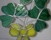Stained Glass Shamrock quot Luck of the Irish Bouquet quot , Suncatcher, Ornament, Beautiful, Custom Handmade