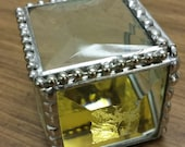 Faceted Clear Jewel Top Engagement Ring Box, Beveled Jewelry Box, Keepsake, Unique and Beautiful A Great Gift Order Early