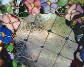 Gorgeous Flower Wreath Panel, 20 quot Diameter Real Stained Glass Piece , Beautiful Blue Faceted Jewels