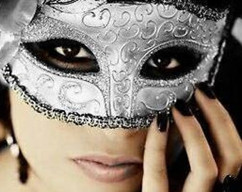 Classic Venetian Women Masquerade Mask, Masquerade Ball Mask with Glitter and Lace (For Her) 2