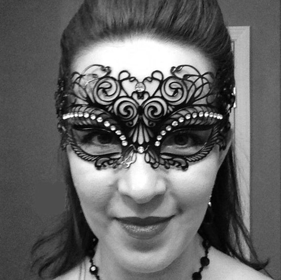 Phantom Laser Cut Venetian Masquerade Metal Filigree Party Ball Mask Rhinestones
