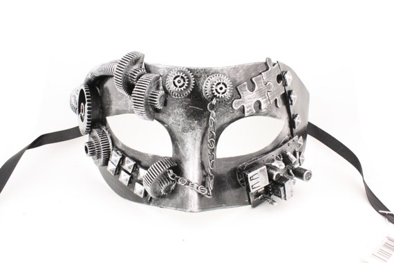Masquerade Mask New Steampunk Rust Silver Charming Gear Chain Halloween Costume