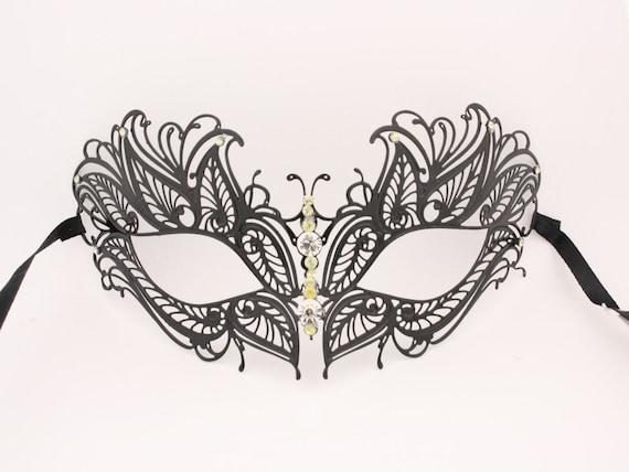 Black Crystal Butterfly Eyes Laser Cut Venetian Mask Masquerade Metal Filigree